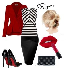 """""""Sexy Professional"""" by andrea-merrihew on Polyvore featuring ASOS, Hybrid & Company, J.TOMSON, Karen Millen, Christian Louboutin, Lime Crime, MAC Cosmetics and Dolce&Gabbana"""
