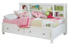 White Kaslyn Twin Bookcase Bed View 2