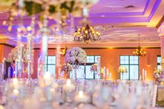 Chic White Wedding, Purple Lighting| Bella Collina | Concept Photography | Vangie's Events of Distinction
