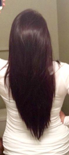V cut with texture, long thick hair, brunette hair cut