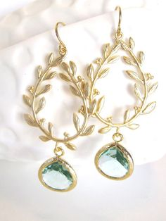 Athena Earrings Aqua Earrings Gold Leaf Earring by LoveShineBridal