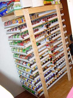 DIY Can Rotator. Holds cans depending on set up and sizes of cans. Using standard veggie cans: 5 rows wide per shelf holds 16 cans. Plus storage on top and bottom. I'll probably never use this, but it's a great idea if I ever become an extreme couponer! Canned Food Storage, Pantry Storage, Can Storage, Storage Rack, Storage Ideas, Kitchen Pantry, Emergency Preparedness, Organization Hacks, School Organization