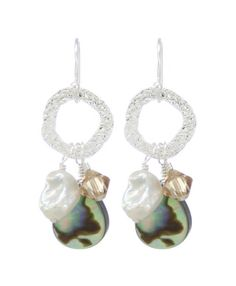 """Each piece of Moonrise Jewelry is handmade with pride beside the Chesapeake Bay in the Moonrise Studio on Virginia's Eastern Shore.  The Abalone shell has a natural iridescence that will pick up the colors of what you're wearing, making them your go-to, wear-anywhere earrings.  Abalone Shell, Swarovski Crystal, Freshwater Keshi Pearls, Sterling Silver (1.5"""" in length, measured from top of ear wire).  $59 includes earrings,  one 2016 Go Virginia Pass (valued $59 by itself), and shipping!"""