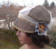 Jax Hats  Brown, Blue and tan plaid with side flower and original button on Etsy, $35.00