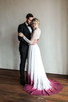 raspberry dip dyed wedding dress