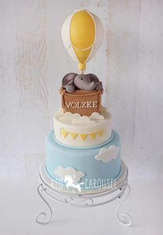 Hot Air Balloon - Elephant - Cake by Wynona Baby Cakes, Cupcake Cakes, Baby Shower Cupcakes, Shower Cakes, Cute Cakes, Sweet Cakes, Bolo Fack, Hot Air Balloon Cake, Balloon Cupcakes