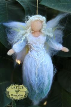 Winter Frost Pulled Wool Fairy/ Christmas Tree Topper Angel with vintage beaded lace by Castle of Costa Mesa