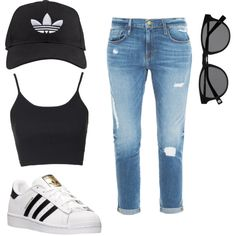 A fashion look from February 2016 featuring Topshop tops, Frame Denim jeans and adidas shoes. Browse and shop related looks.