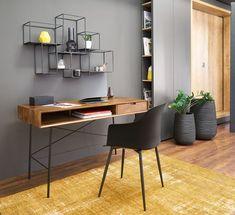 Solid mango wood and black metal desk Arty Home Office Setup, Home Office Space, Home Office Design, Office Ideas, Bureau Design, Etagere Cube, Desk In Living Room, Minimalist Office, Minimalist Bathroom