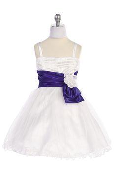 White/Purple Thin Strap Satin Waistband Tulle  Blue Flower Girl Dress - L4289 L4289-PP $54.95 on www.GirlsDressLine.Com