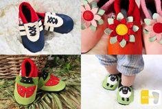 ecotisos - patucos y zapatos infantiles de suela blanda - hechos de cuero ecológico - zapatos de gateo - modelos GANDOR DEPORTE azul, FLOR DE LOTO, MARIQUITA y OVEJA