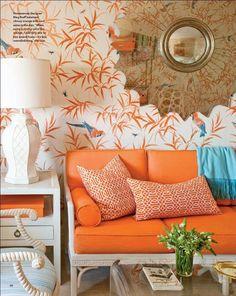 Palm Beach-inspired orange living room by Meg Braff