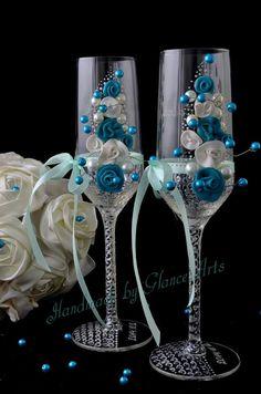 White Blue champagne  flutes