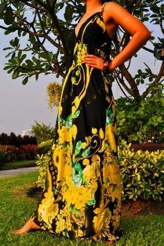 Dlhé letné šaty na ramienka Magic black/yellow inzercia www.predavajmodu.sk