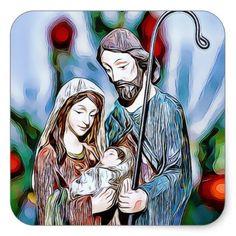 Jesus Joseph and Mary Religious Christmas Sticker - christmas stickers xmas eve custom holiday merry christmas
