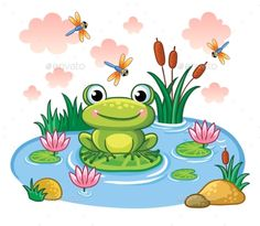 The Frog Sits on a Leaf in the Pond. by svaga The frog sits on a leaf in the pond. Vector illustration in childrens style. Lake with insects and animals. Drawing Lessons For Kids, Art Drawings For Kids, Cartoon Drawings, Easy Drawings, Art Lessons, Art For Kids, Art Children, Pond Drawing, Frog Drawing