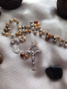 Crazy Lace Agate Rosary Beads with Sterling Silver by Baublebys, $140.00