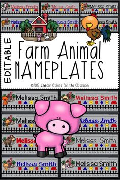 14 DIFFERENT Farm Animal Nameplates for your farm themed classroom! Farms are fun themes in the elementary classroom. Students will love these nameplates featuring: ♞Cow ♞Bird ♞Cat ♞Rooster ♞Dog ♞Rabbit/Frog ♞Goat ♞Duck ♞Horse ♞Mouse ♞Pig ♞Sheep ♞Turkey ♞Hen/Chick  This resource contains TWO VERSIONS of the nameplates:  An editable PowerPoint version that allows the buyer to edit the nameplates on his/her personal computer. It includes the names of the fonts used in the preview.