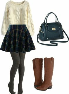 cozy vintage: white sweater, green flannel skirt, grey leggings & brown thigh-high boots.