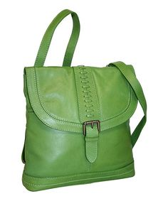Apple Green Convertible Leather Back Pack to Crossbody Bag