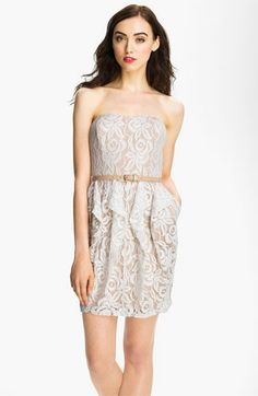 Jessica Simpson Belted Strapless Lace Dress #Nordstrom #Wedding