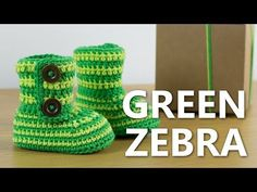 How to Crochet Baby Booties Green Zebra | Croby Patterns - YouTube