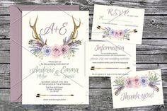 Tribal lavender wedding templates 08. Wedding Card Templates