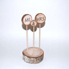 Rustic Cake Topper - Aspen CAKE Decoration  - MR. & MRS. - Wedding Table Decoration - Rustic Wedding - Personalized  -  MaDE to ORDer. $25.00, via Etsy.