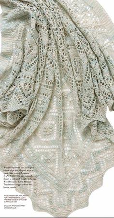 from Vogue knitting magazine spring summer 2015 Knitted Shawls, Crochet Shawl, Knit Crochet, Vogue Knitting, Lace Knitting, Knitting Charts, Knitting Patterns, Knitting Magazine, Fashion Sewing