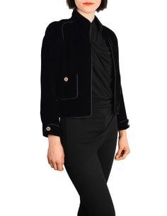a9bc23c6b88ba Chanel Vintage Cropped Black Velvet Jacket - from Amarcord Vintage Fashion  Black Velvet Jacket, Vintage