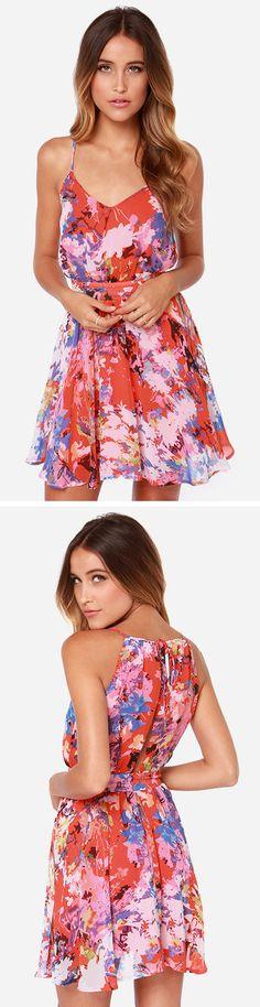 LULUS Exclusive Fun-Tasia Coral Red Print Dress