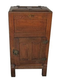 Really entryway piece that has storage Vintage Wooden Overland Ice Box Refrigerator on Chairish.com