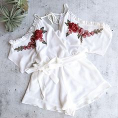 peek a boo romper with floral applique and ruffle hem - more colors