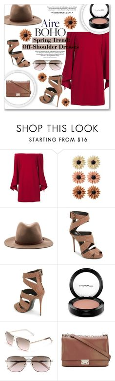 """""""Spring Trend: Off-Shoulder Dresses"""" by julijana-k ❤ liked on Polyvore featuring TIBI, mae, rag & bone, Giuseppe Zanotti, MAC Cosmetics, Lilly Pulitzer and Emporio Armani"""