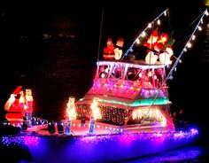 A brightly decorated boat makes its way down the Intercoastal Waterway during the 2009 Palm Beach Holiday Boat Parade