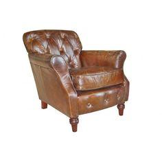 Vintage Button Back Leather Armchair