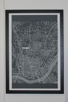Apartment B - Cincinnati, Ohio City Map Canvas Poster - Circa 1939
