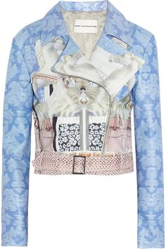 Mary Katrantzou | Printed leather biker jacket