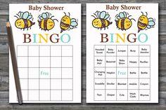 60 honeybee baby shower bingo cards, bee baby shower Bingo Cards -  baby shower Bingo , 60 baby shower bingo cards, BG-186 Baby Shower Bingo, Baby Shower Printables, Blank Bingo Cards, Baby Jumper, Baby Towel, Star Baby Showers, Stroller Blanket, Pink Cat, Shower Gifts