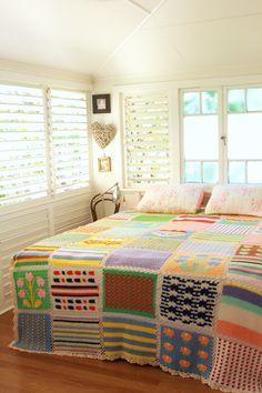 Já pensando no inverno... :) crochet patchwork quilt