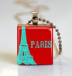 Turquoise and Red Eiffel Tower Paris