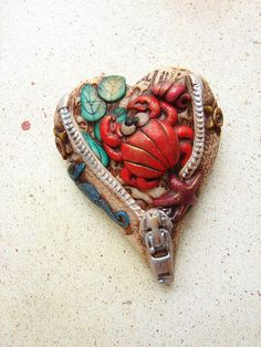 Unzipped Heart Brooch 9- It is the sea for me by Marie Segal