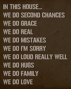 Rules for GRACE in the home.