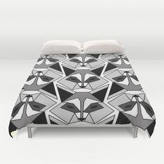 geometric GAZE of raccoons duvet