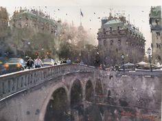 Joseph Zbukvic, Across the Seine, Paris Watercolor Architecture, Watercolor Landscape, City Painting, Artist Painting, Watercolor Artists, Watercolor Artwork, Urban Landscape, Landscape Art, Joseph Zbukvic