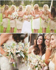 strapless tan lace bridesmaid dresses