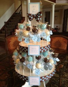 The most BEAUTIFUL baby shower cake pop stand display ever!!