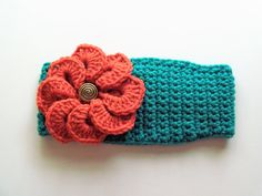 Adjustable Headband/Earwarmer with Flower in Jade and Coral by BeyondCrochet