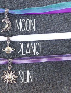 Celestial charm ribbon lace choker necklace with moon planet or sun charms and pretty satin and organza ribbon in purple white lalac or turquoise  by BubbleGumGraffiti