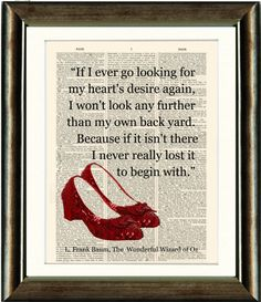 Ruby Slippers/Wizard of Oz Heart Quote- vintage book page print image on a page of a late 1800s Dictionary